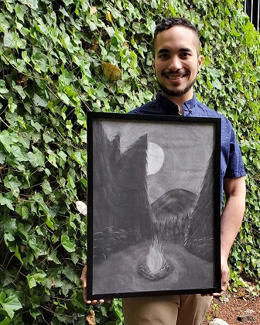 Greigel with charcoal art work
